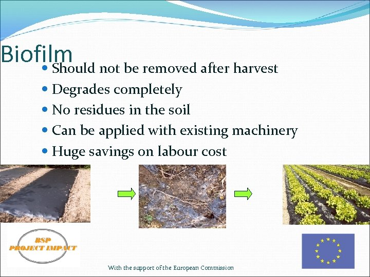 Biofilm not be removed after harvest Should Degrades completely No residues in the soil
