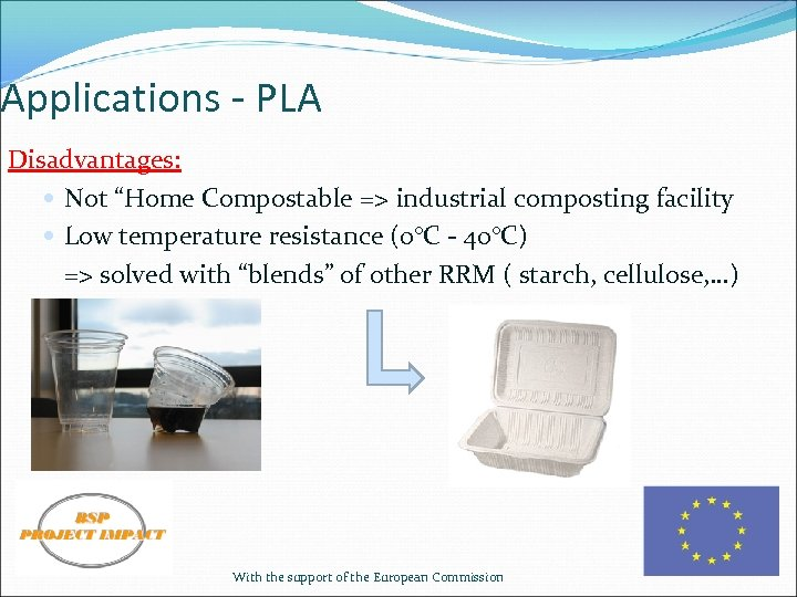 """Applications - PLA Disadvantages: Not """"Home Compostable => industrial composting facility Low temperature resistance"""