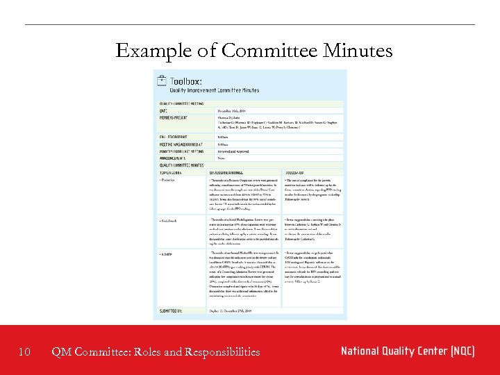 Example of Committee Minutes 10 QM Committee: Roles and Responsibilities