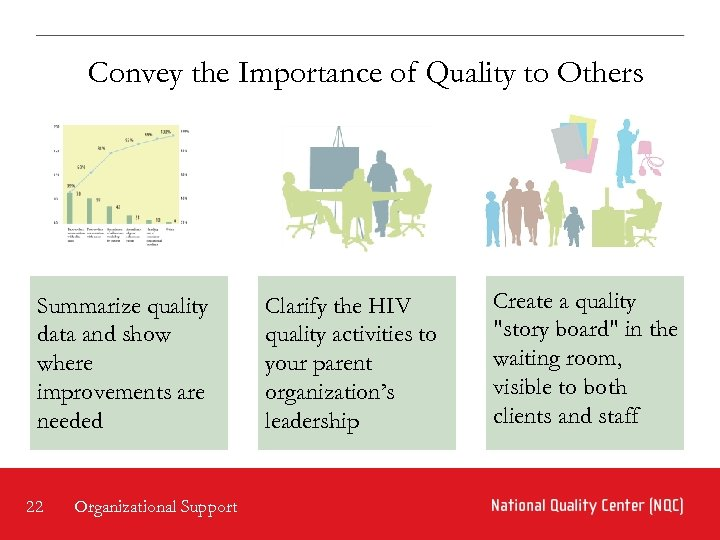 Convey the Importance of Quality to Others Summarize quality data and show where improvements