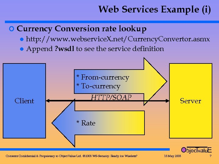 Web Services Example (i) ¢ Currency Conversion rate lookup l http: //www. webservice. X.