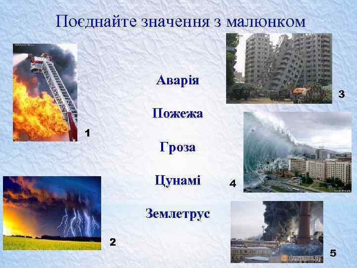 Поєднайте значення з малюнком Аварія 3 Пожежа 1 Гроза Цунамі 4 Землетрус 2 5