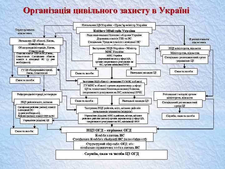 Організація цивільного захисту в Україні Начальник ЦЗ України – Прем'єр-міністр України Територіальна підсистема Начальник