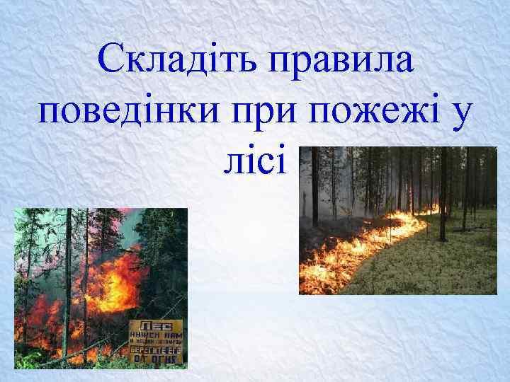 Складіть правила поведінки при пожежі у лісі