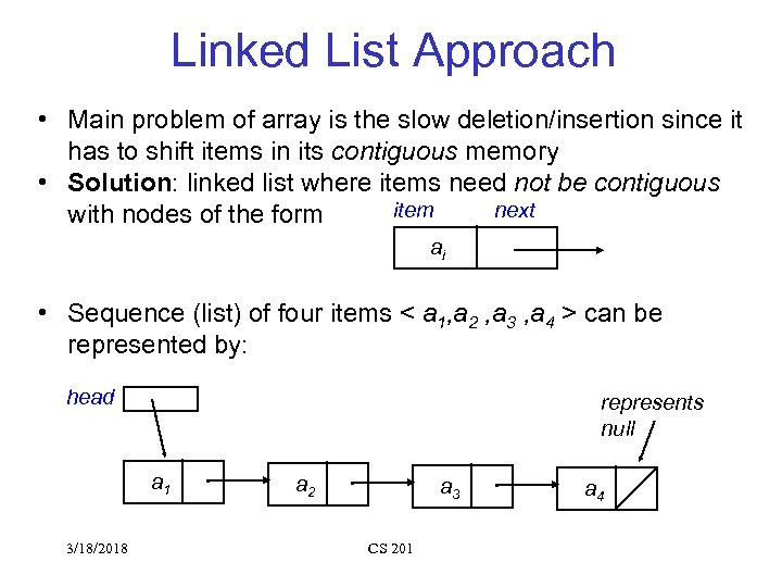 Linked List Approach • Main problem of array is the slow deletion/insertion since it