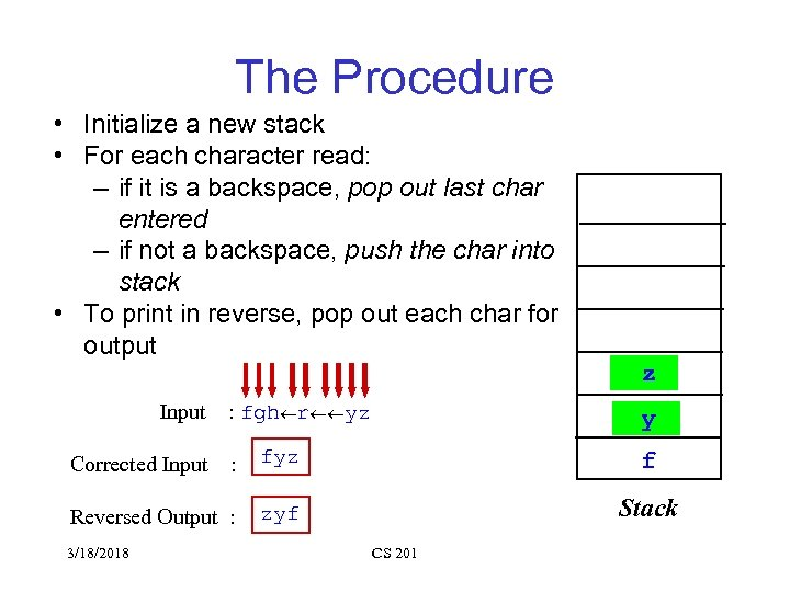 The Procedure • Initialize a new stack • For each character read: – if