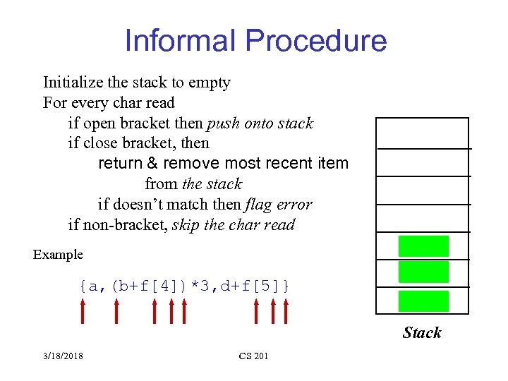 Informal Procedure Initialize the stack to empty For every char read if open bracket