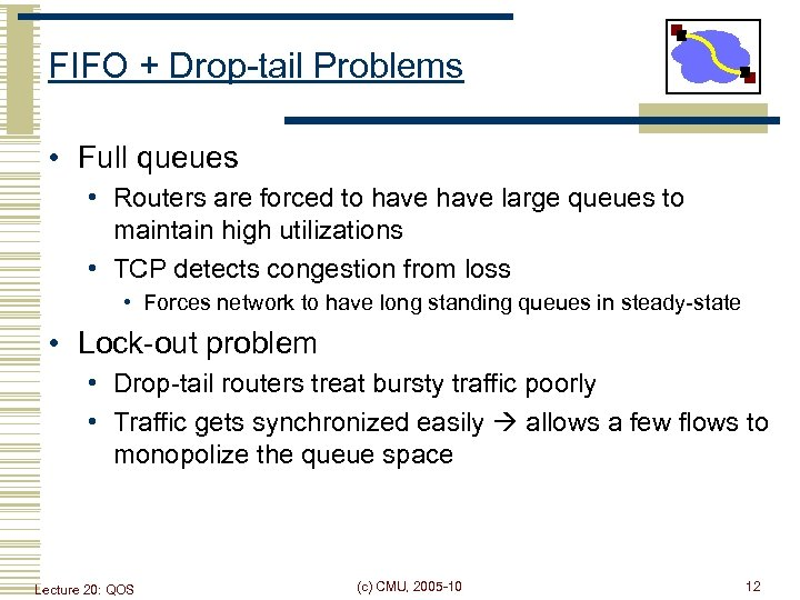 FIFO + Drop-tail Problems • Full queues • Routers are forced to have large