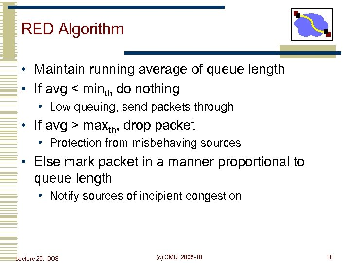 RED Algorithm • Maintain running average of queue length • If avg < minth