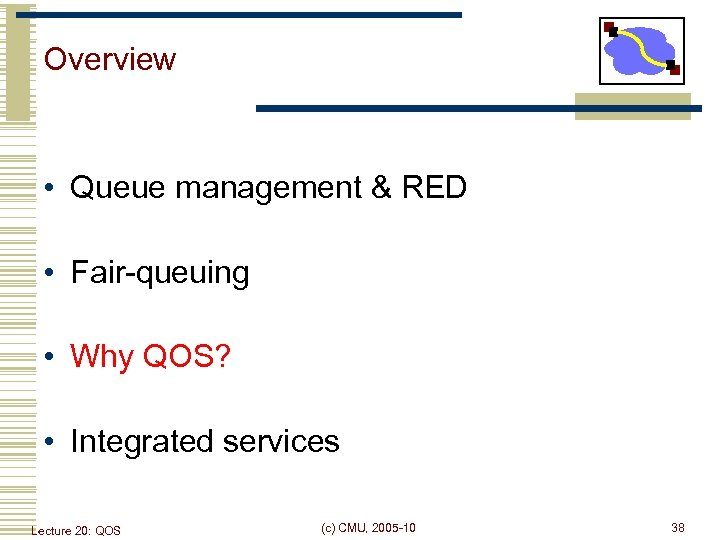 Overview • Queue management & RED • Fair-queuing • Why QOS? • Integrated services