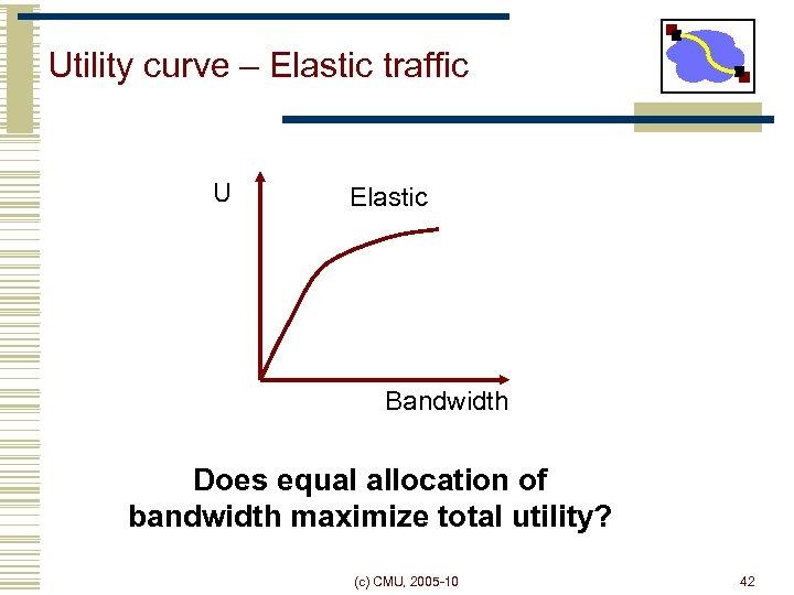 Utility curve – Elastic traffic U Elastic Bandwidth Does equal allocation of bandwidth maximize