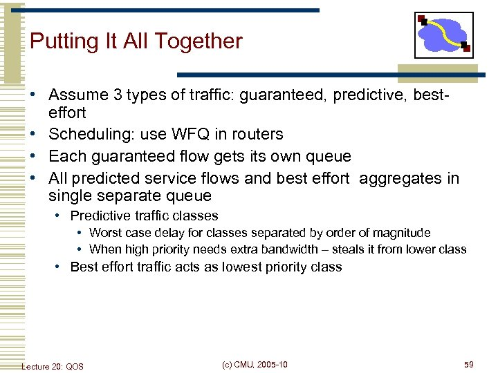 Putting It All Together • Assume 3 types of traffic: guaranteed, predictive, besteffort •