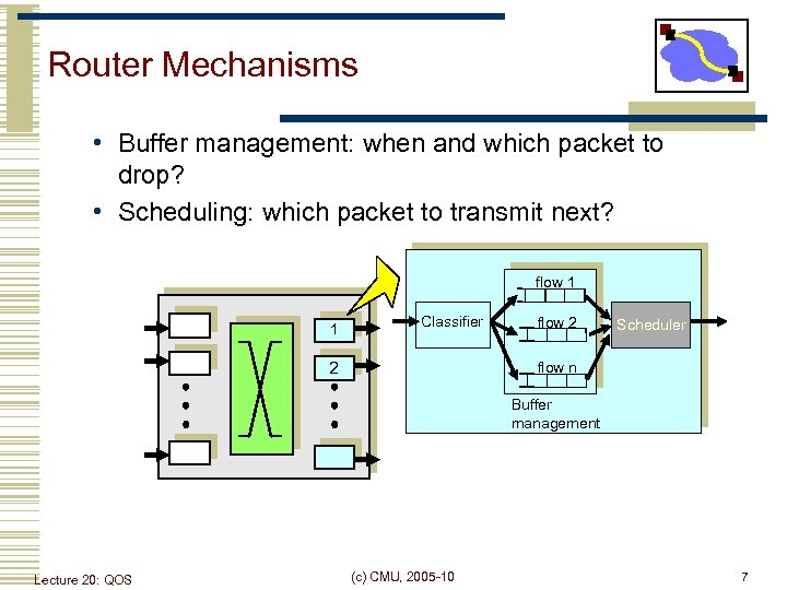 Router Mechanisms • Buffer management: when and which packet to drop? • Scheduling: which