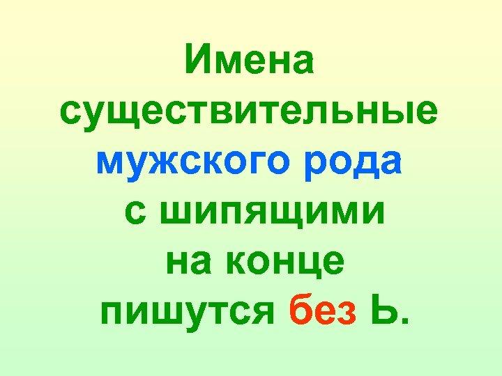 Имена существительные мужского рода с шипящими на конце пишутся без Ь.