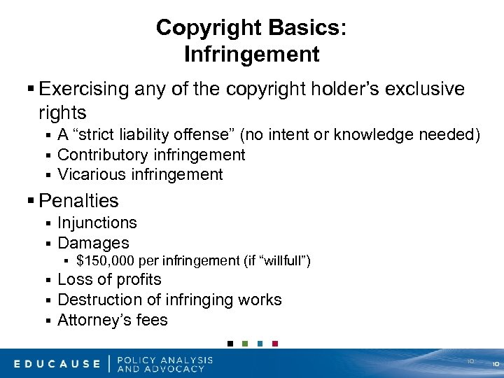 Copyright Basics: Infringement § Exercising any of the copyright holder's exclusive rights § §