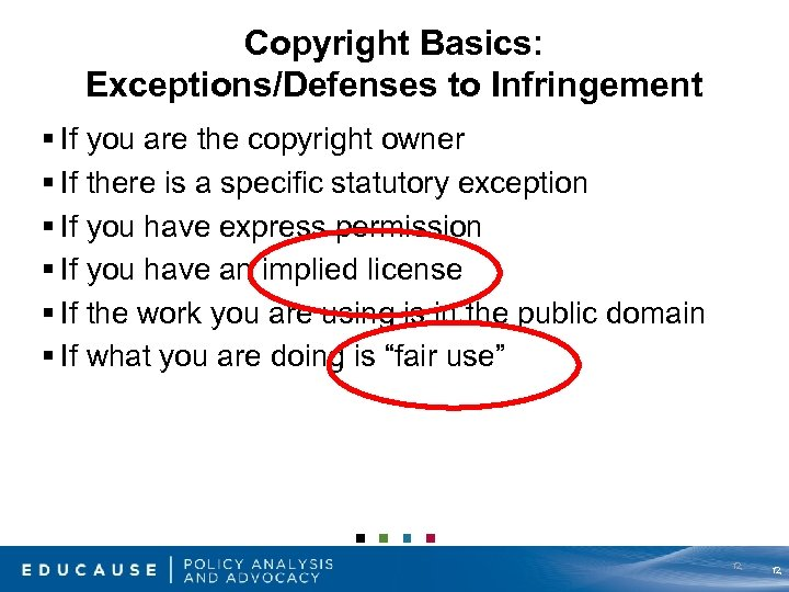Copyright Basics: Exceptions/Defenses to Infringement § If you are the copyright owner § If