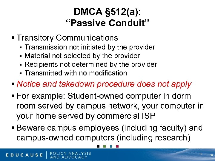 "DMCA § 512(a): ""Passive Conduit"" § Transitory Communications § § Transmission not initiated by"