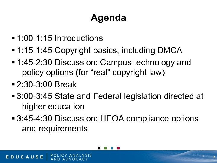 Agenda § 1: 00 -1: 15 Introductions § 1: 15 -1: 45 Copyright basics,