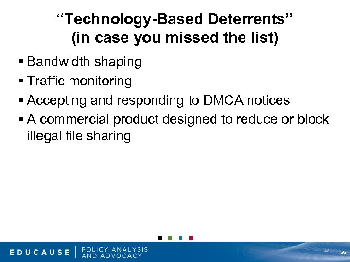 """Technology-Based Deterrents"" (in case you missed the list) § Bandwidth shaping § Traffic monitoring"