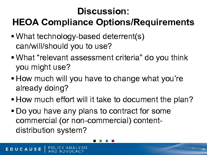 Discussion: HEOA Compliance Options/Requirements § What technology-based deterrent(s) can/will/should you to use? § What