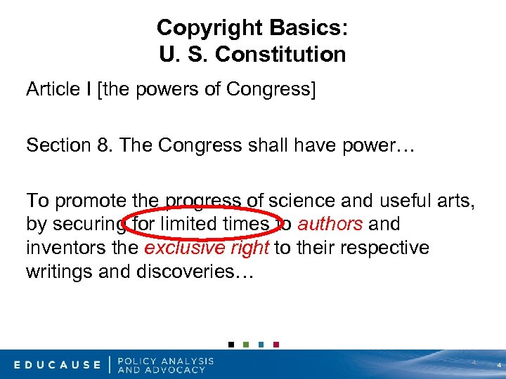 Copyright Basics: U. S. Constitution Article I [the powers of Congress] Section 8. The
