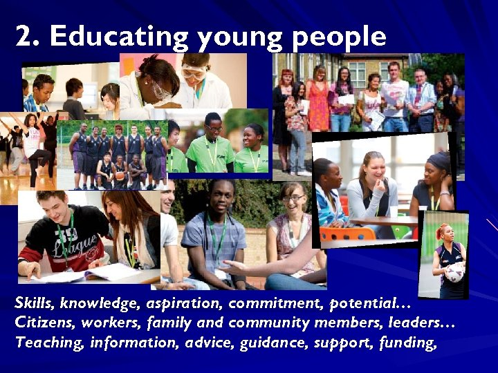 2. Educating young people Skills, knowledge, aspiration, commitment, potential… Citizens, workers, family and community