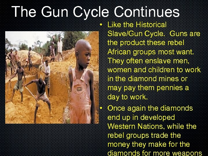 The Gun Cycle Continues • Like the Historical Slave/Gun Cycle. Guns are the product