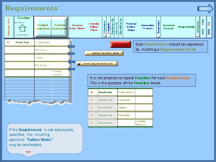 Requirements next Each Requirement should be separated by inserting a Requirements break It is