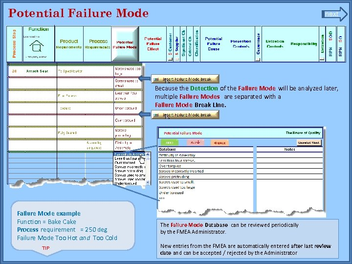 Potential Failure Mode next Because the Detection of the Failure Mode will be analyzed