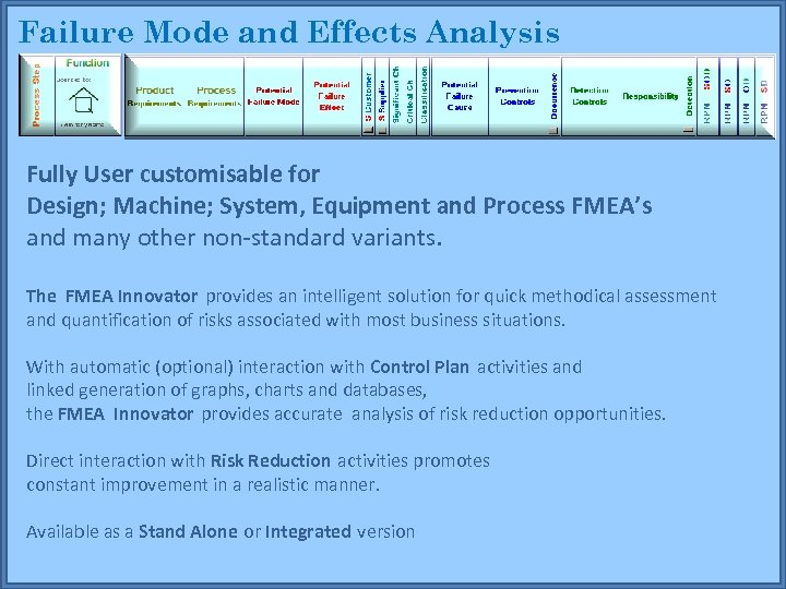 Failure Mode and Effects Analysis Fully User customisable for Design; Machine; System, Equipment and