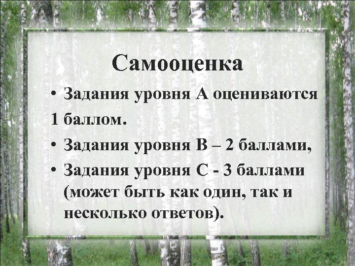 Самооценка • Задания уровня А оцениваются 1 баллом. • Задания уровня В – 2