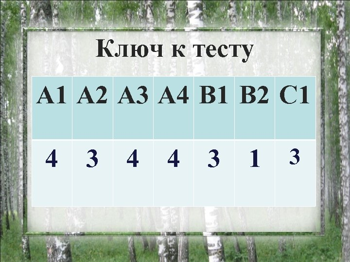 Ключ к тесту А 1 А 2 А 3 А 4 В 1 В