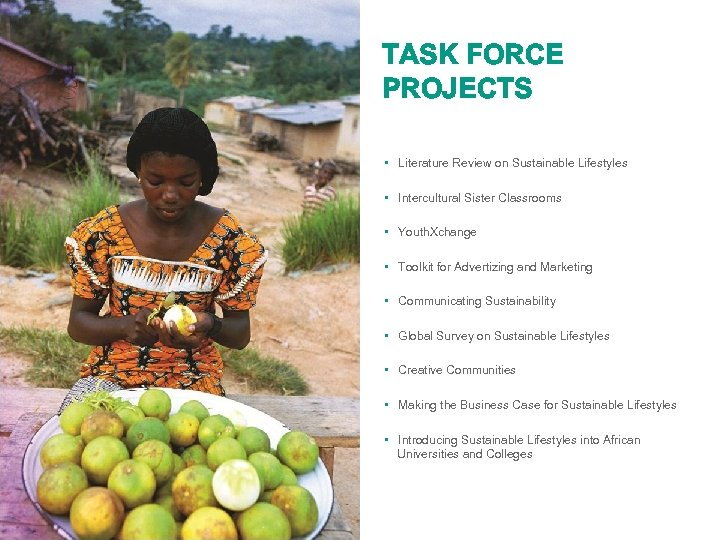 TASK FORCE PROJECTS • Literature Review on Sustainable Lifestyles • Intercultural Sister Classrooms •