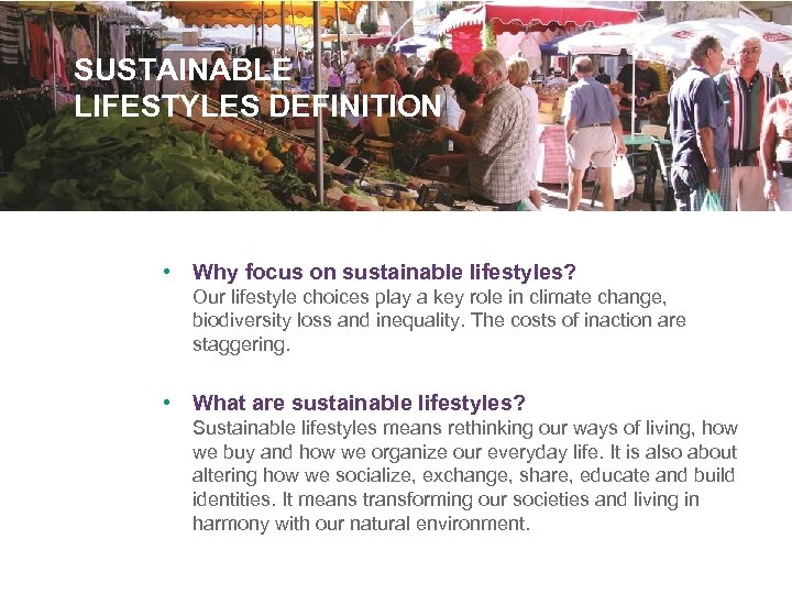 SUSTAINABLE LIFESTYLES DEFINITION • Why focus on sustainable lifestyles? Our lifestyle choices play a