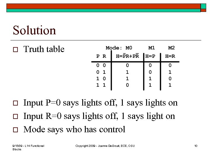 Solution o Truth table o Input P=0 says lights off, 1 says lights on
