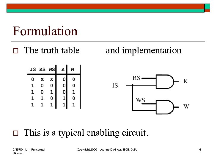 Formulation o The truth table o This is a typical enabling circuit. 9/15/09 -