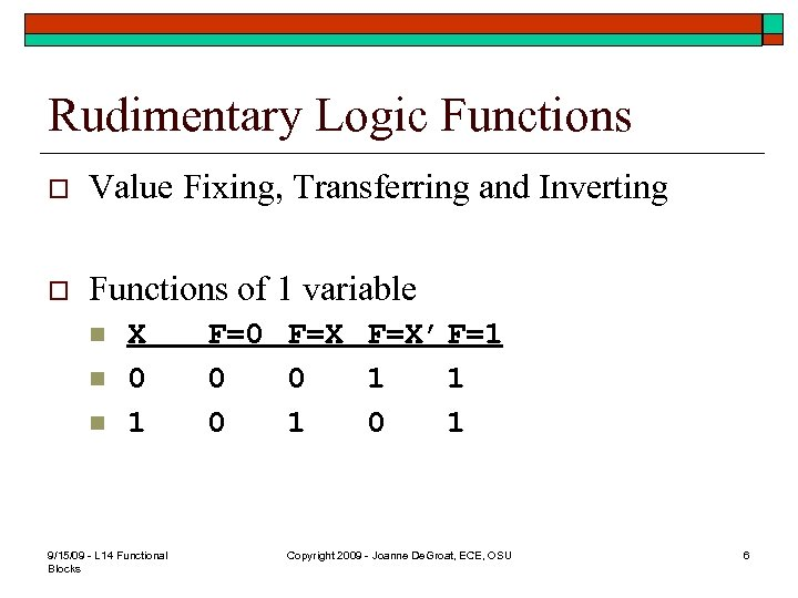 Rudimentary Logic Functions o Value Fixing, Transferring and Inverting o Functions of 1 variable
