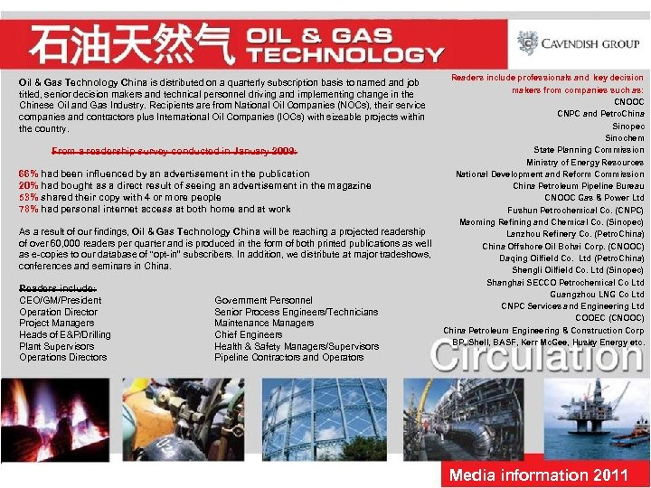 Readers include professionals and key decision makers from companies such as: CNOOC CNPC