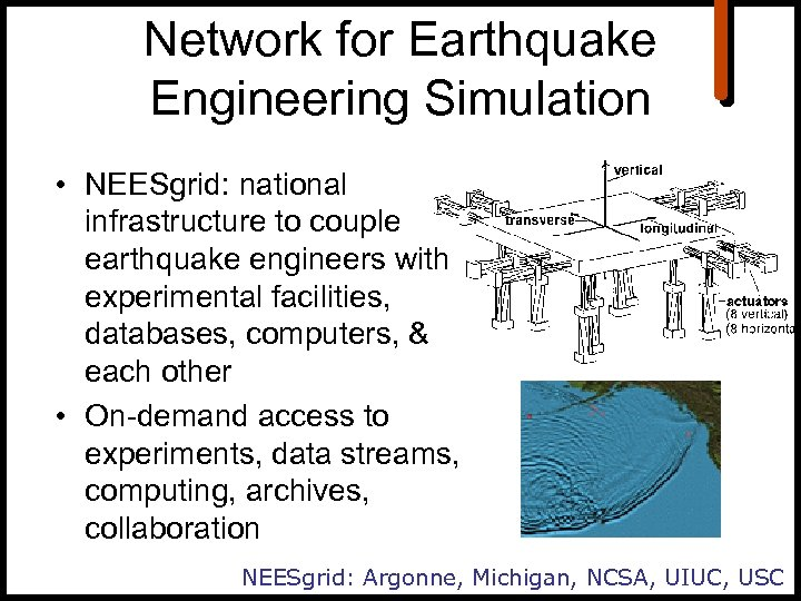 Network for Earthquake Engineering Simulation • NEESgrid: national infrastructure to couple earthquake engineers with