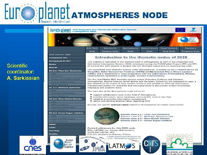 ATMOSPHERES NODE Scientific coordinator: A. Sarkissian