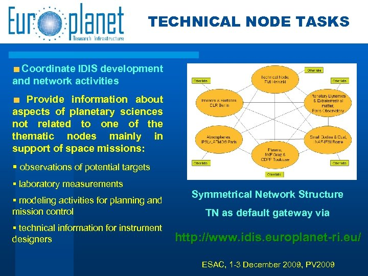 TECHNICAL NODE TASKS Coordinate IDIS development and network activities Provide information about aspects of