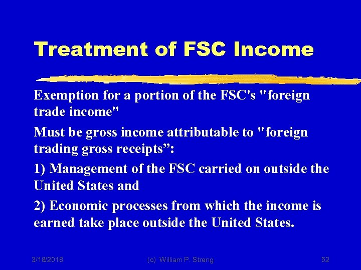 Treatment of FSC Income Exemption for a portion of the FSC's