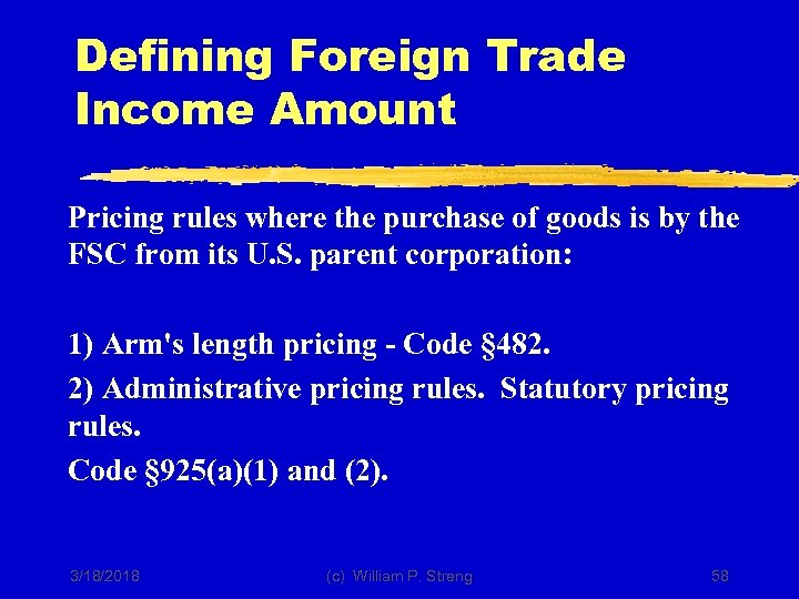 Defining Foreign Trade Income Amount Pricing rules where the purchase of goods is by