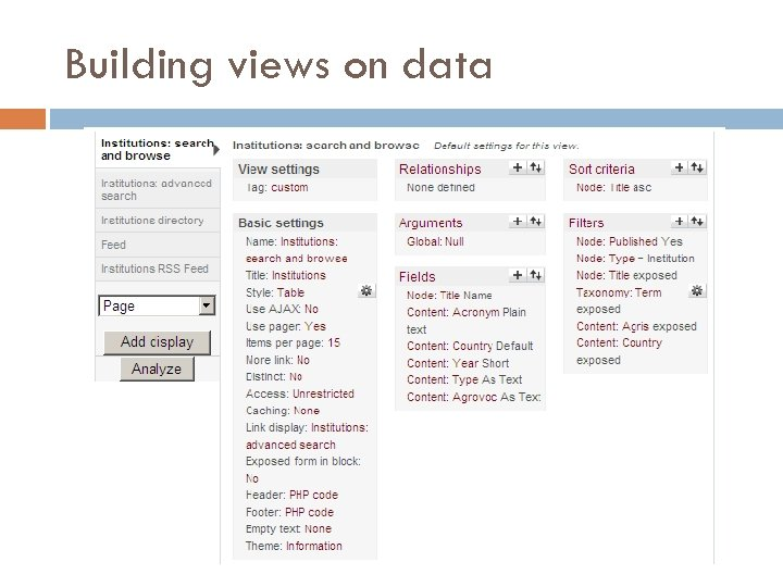 Building views on data