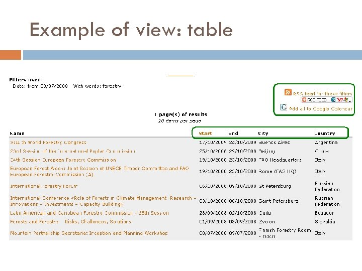 Example of view: table