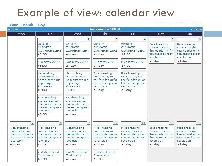 Example of view: calendar view