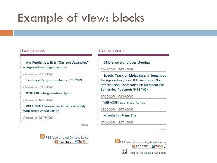 Example of view: blocks