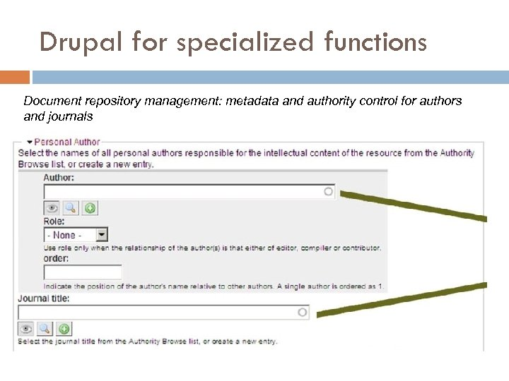 Drupal for specialized functions Document repository management: metadata and authority control for authors and
