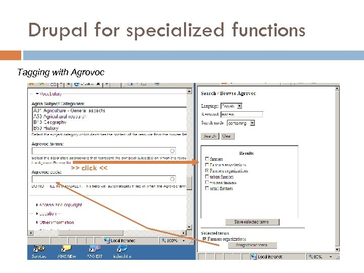Drupal for specialized functions Tagging with Agrovoc >> click <<