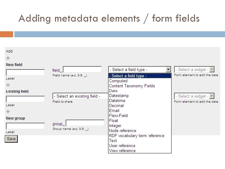 Adding metadata elements / form fields